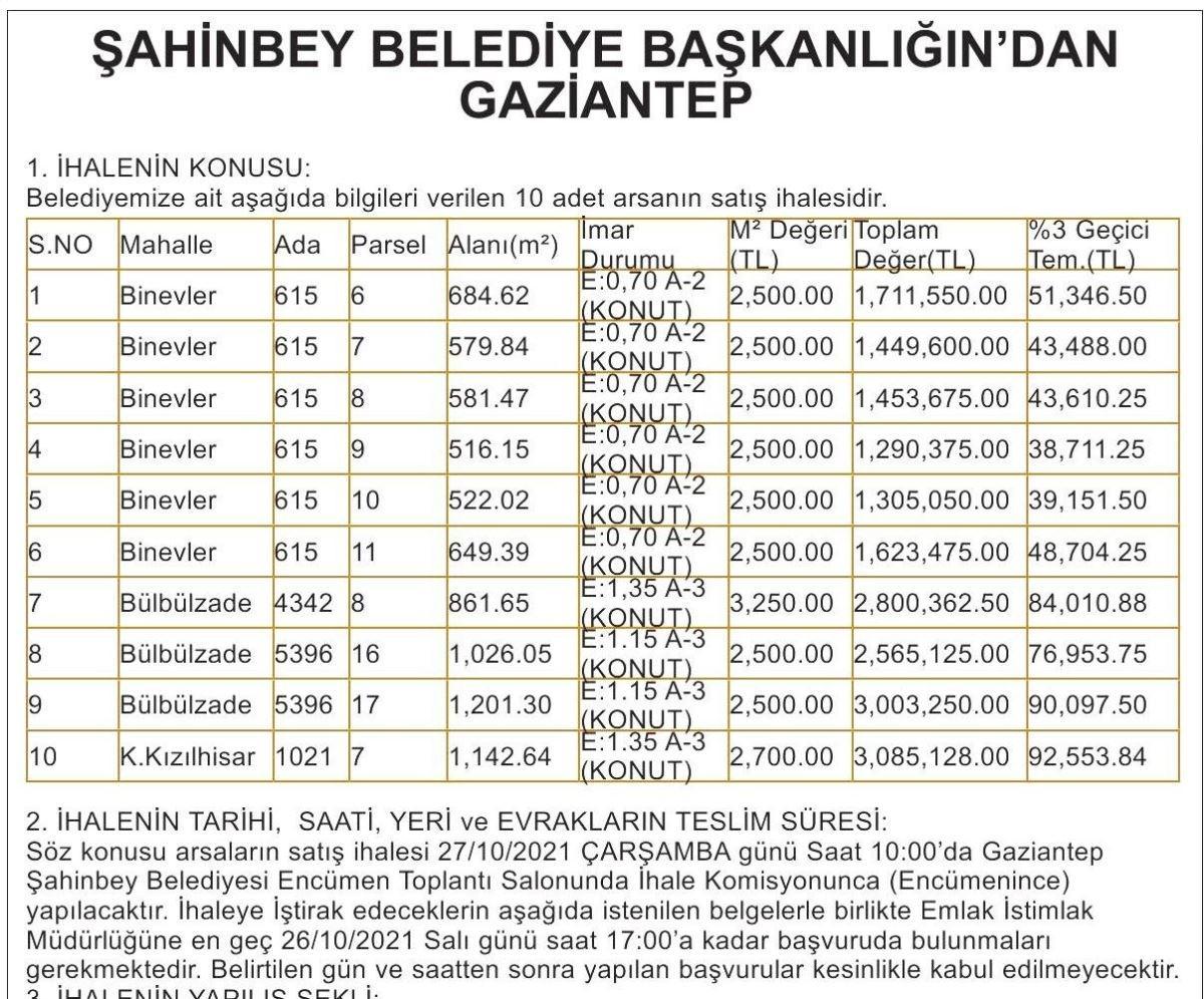 Şahinbey Belediyesi ilan 1